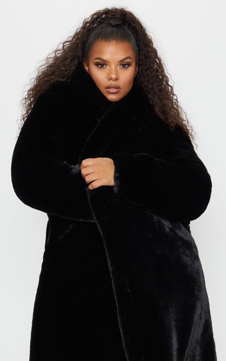 Plus Black Premium Longline Faux Fur Hooded Coat 5