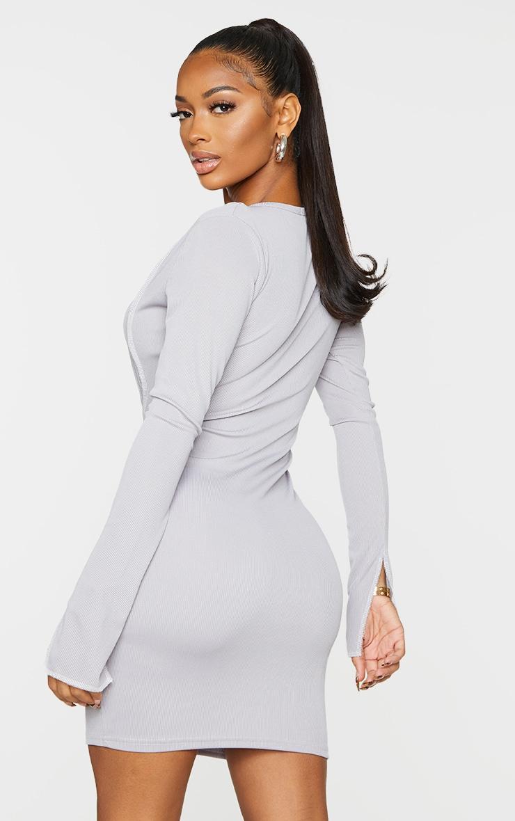 Shape Grey Rib Overlock Seam Lace Up Split Sleeve Bodycon Dress 2