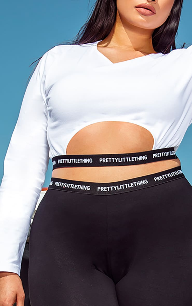 PRETTYLITTLETHING Plus White Long Sleeve Crop Top 4
