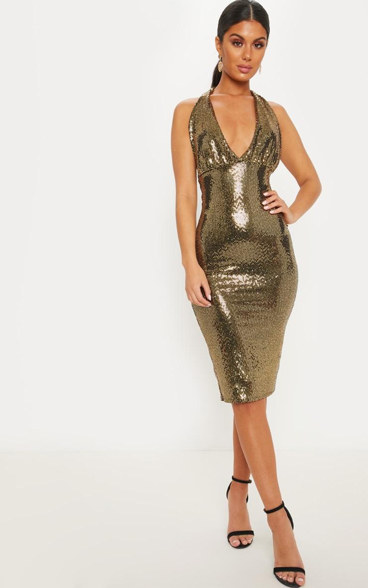 Gold Sequin Halterneck Midi Dress