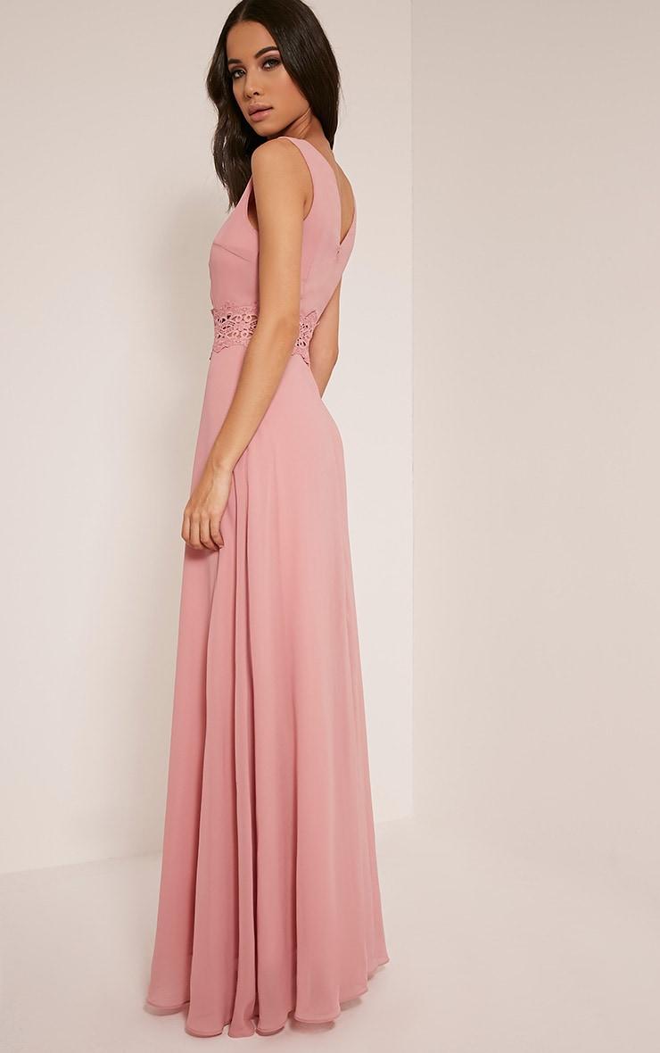 Caitlan Dusty Pink Lace Insert Maxi Dress 4