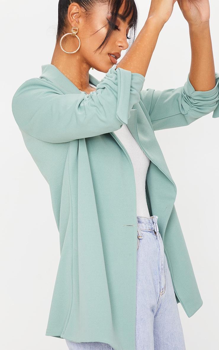 Sage Green Ruched Sleeve Blazer 4