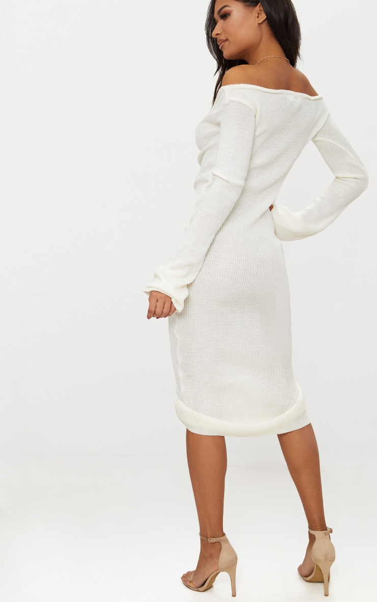 Cream Ruched Knit Extreme Sleeve Midi Dress 2