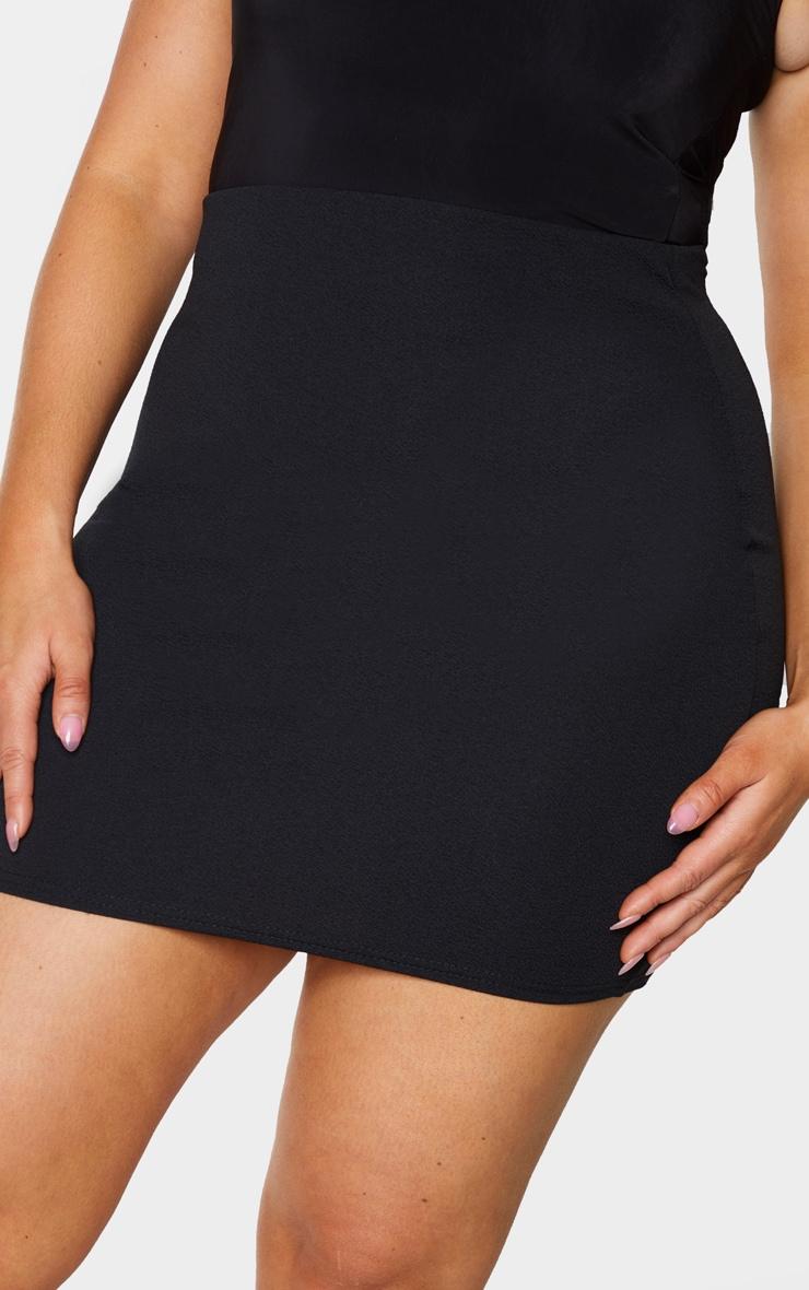 Plus Basic Black Cotton Blend Jersey Mini Skirt 5