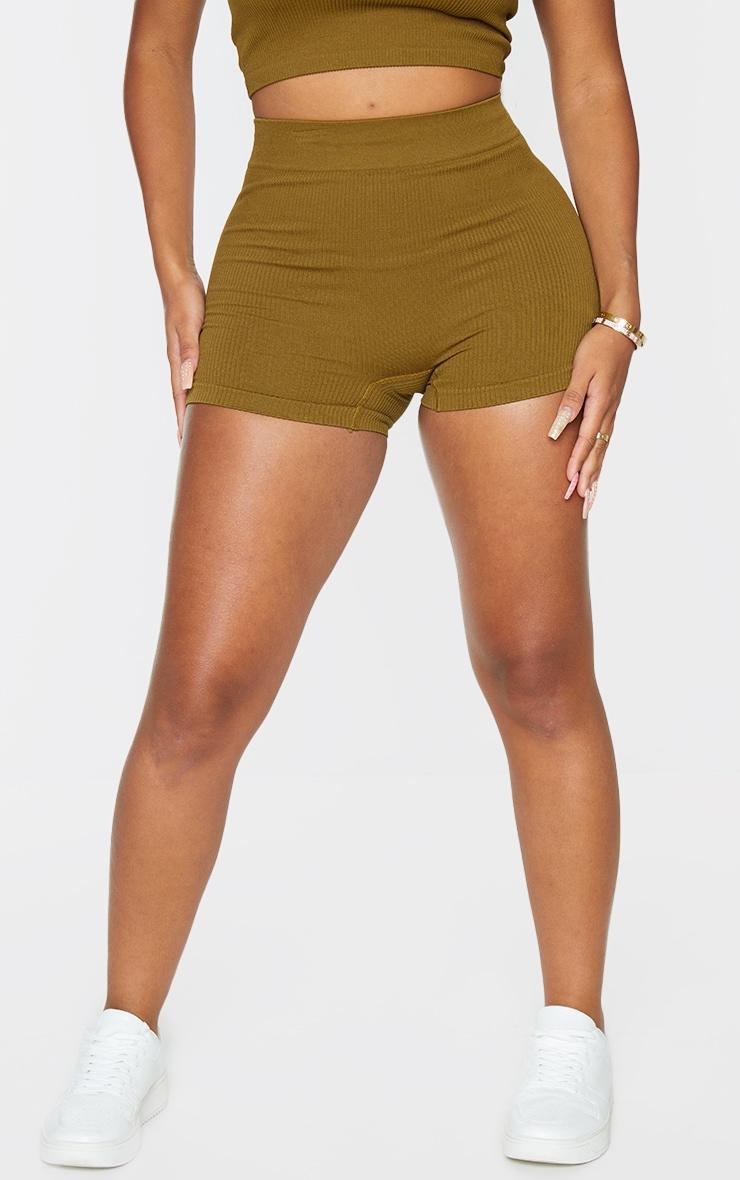 Shape Olive Contour Rib Shorts 2
