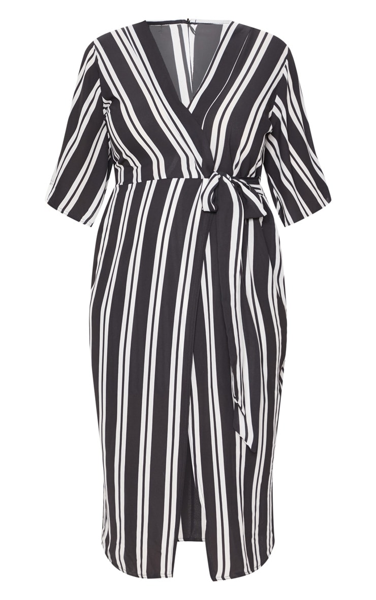 Plus Black Striped Kimono Midi Dress 3
