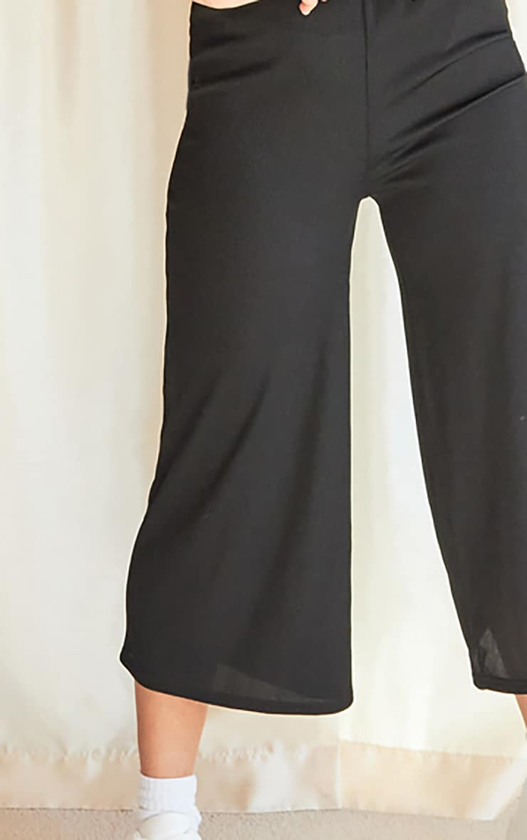 Black Rib Wide Leg Culotte Jumpsuit 4