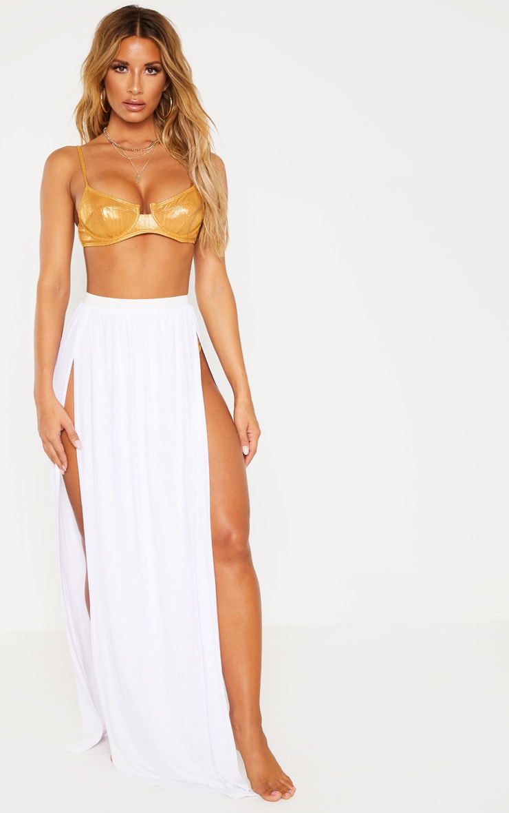 White Jersey Double Split Beach Skirt 1