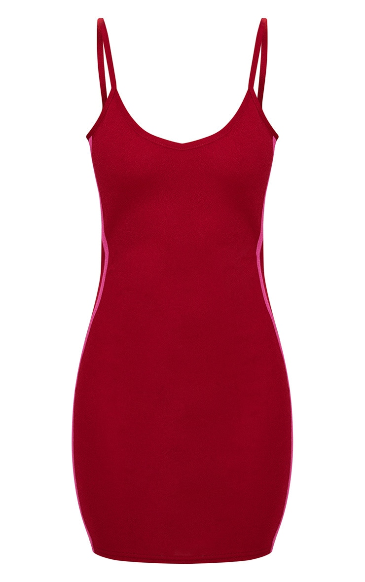 Burgundy Strappy Sports Stripe Bodycon Dress 3