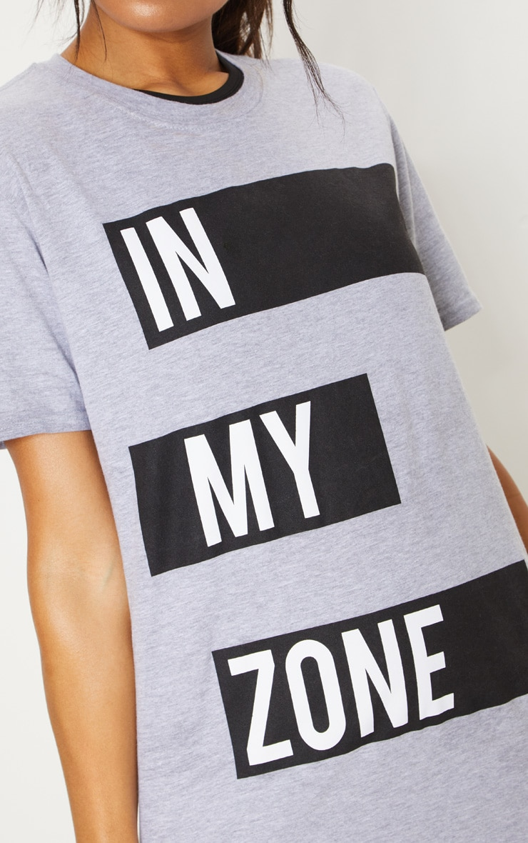 Grey Cotton In My Zone T Shirt 6