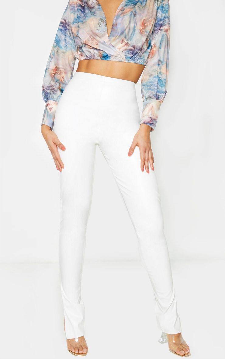 Tall White Split Hem Flared PU Pants 2