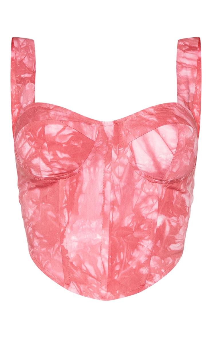 Shape Pink Tie Dye Woven Corset Crop Top 5