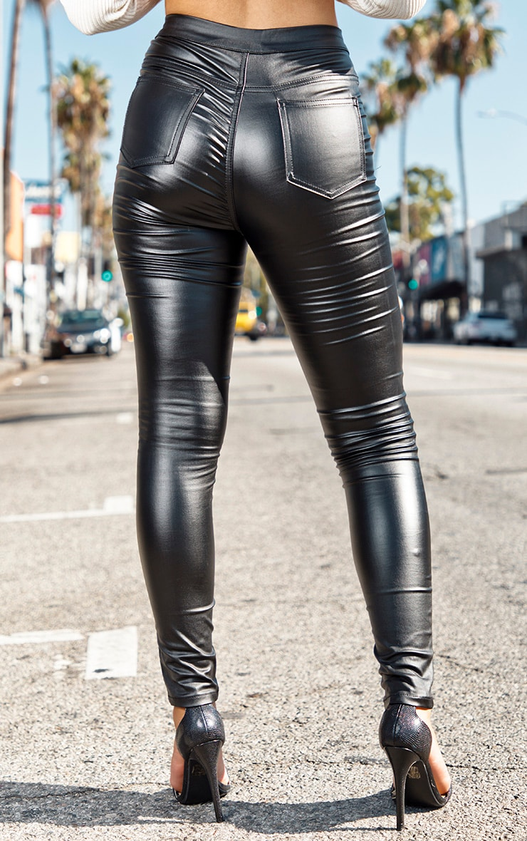 Black Biker Detail Coated Skinny Jeans 4