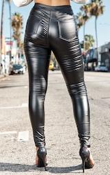Black Biker Detail Coated Skinny Jeans 4