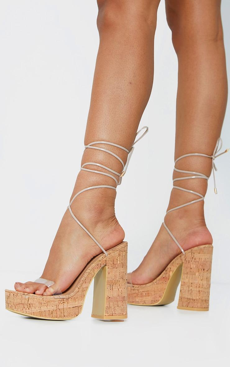 Nude Cork Lace Up Platform Heels