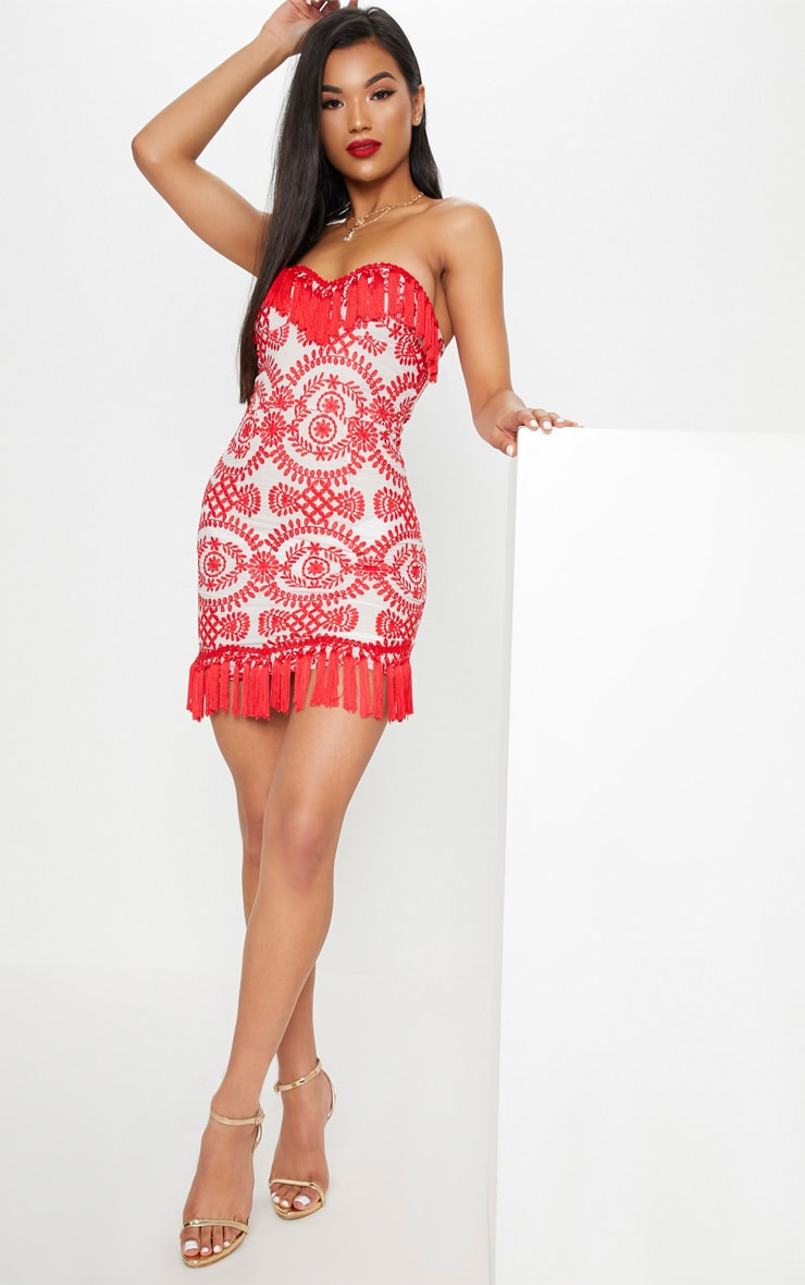 Red Broderie Anglaise Tassel Trim Bodycon Dress 1