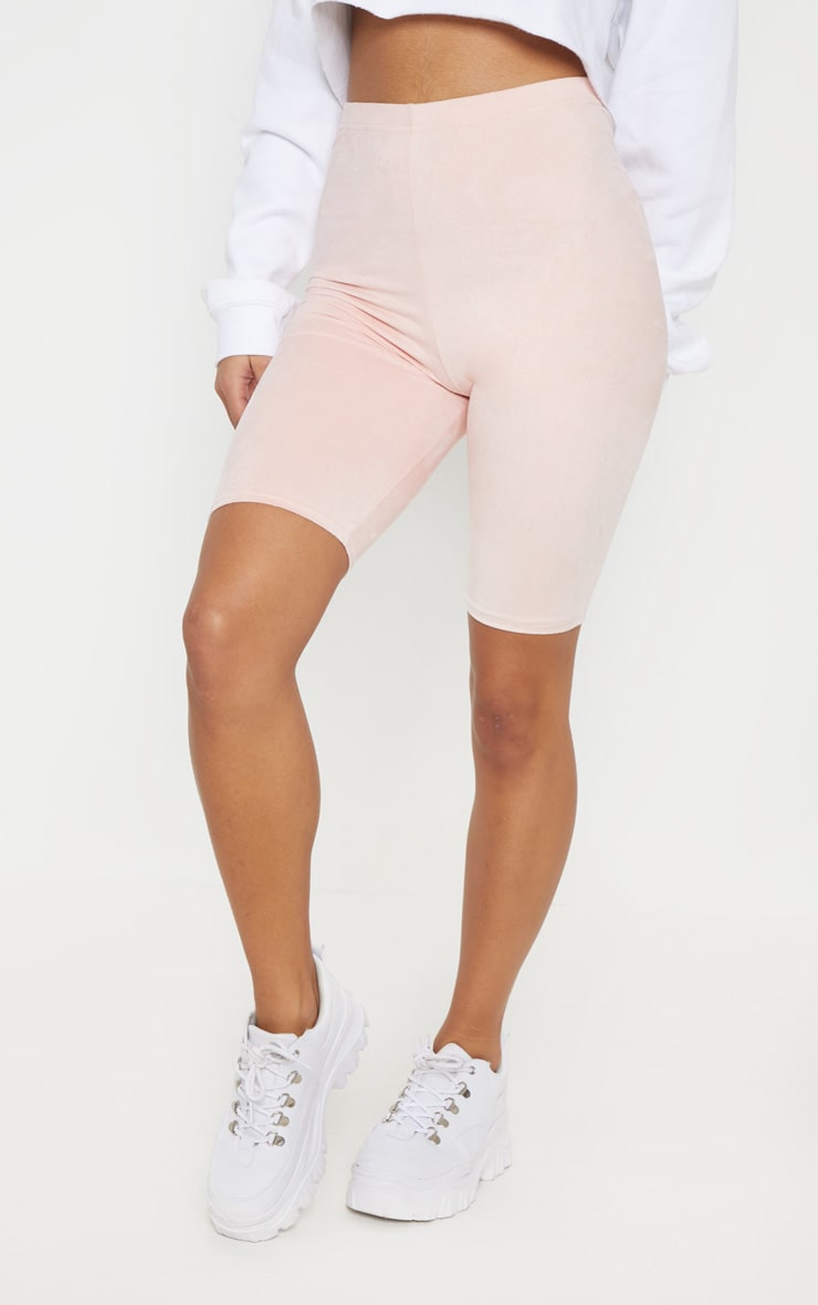 Pastel Pink Faux Suede Cycle Short 2