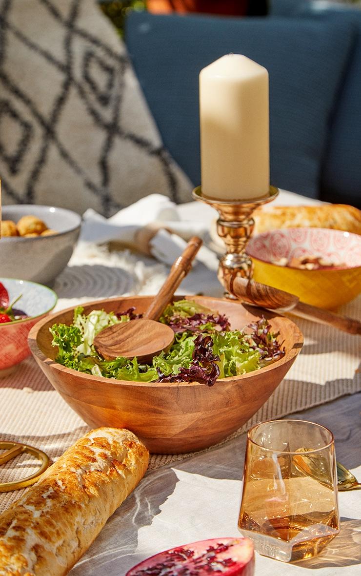 Brown Wooden Salad Bowl 1