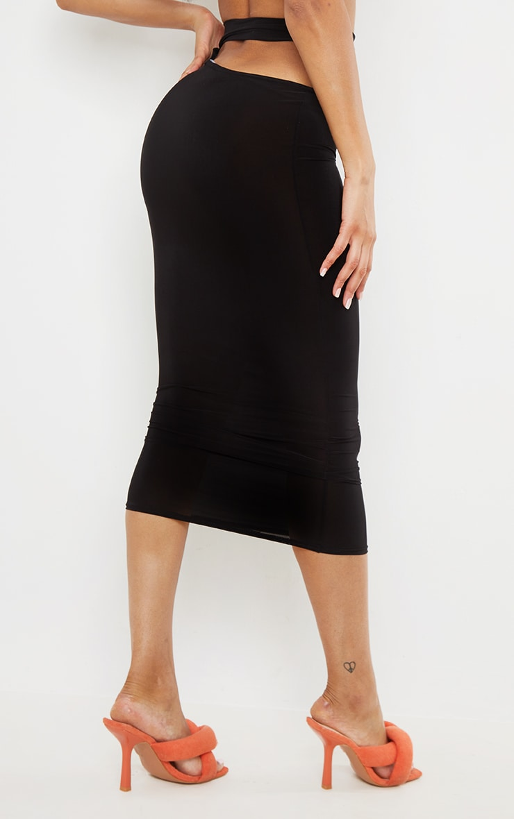Black Slinky Cut Out Waist Detail Midi Skirt 3