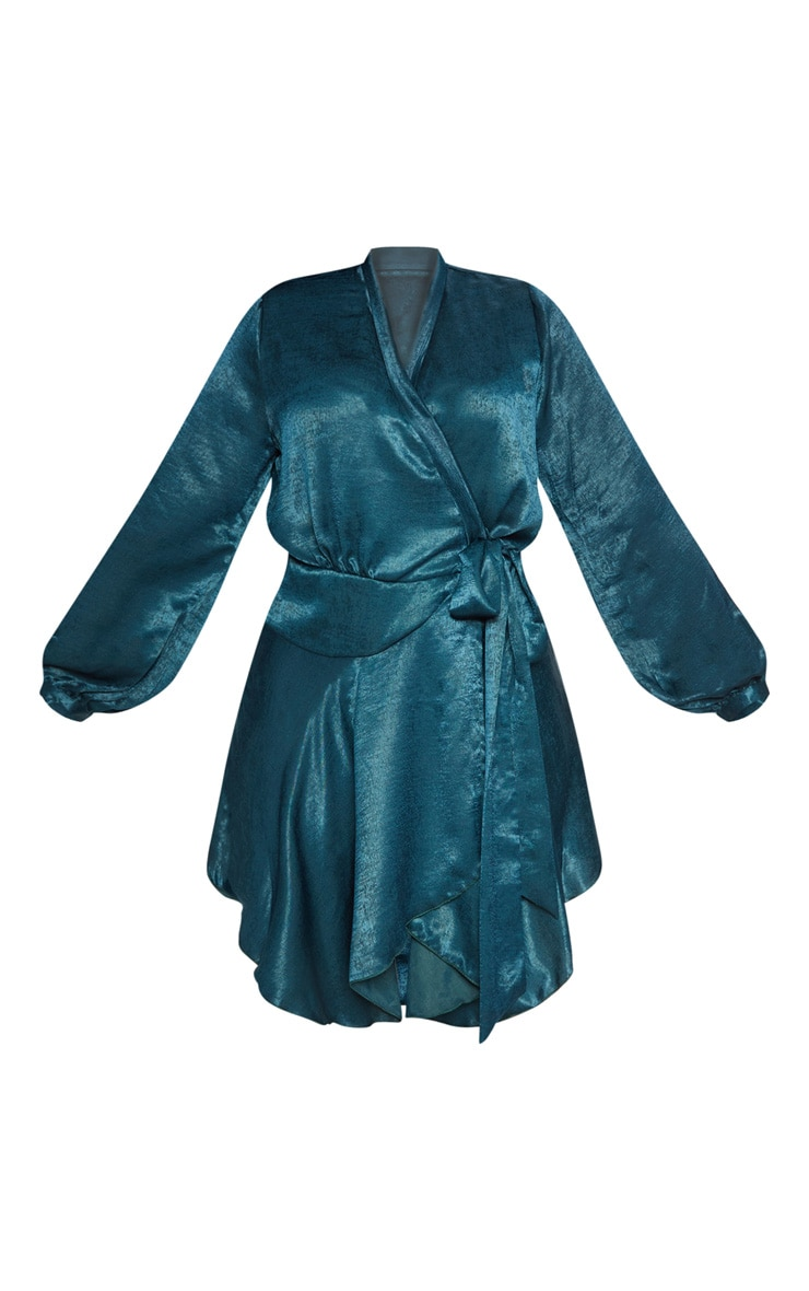 Plus Emerald Green Satin Frill Detail Wrap Dress  3