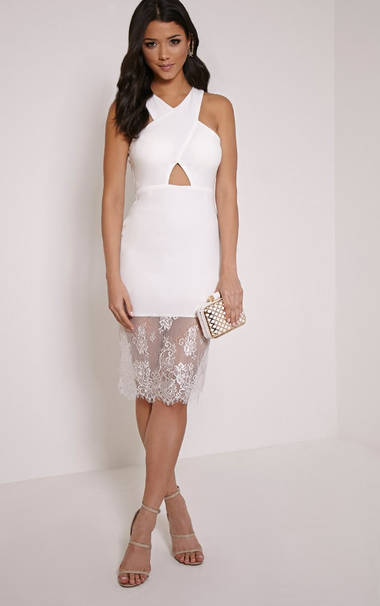Sinead White Racer Neck Lace Hem Midi Dress 1