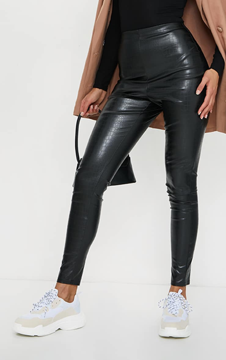 Black Croc Faux Leather Skinny Trousers 2