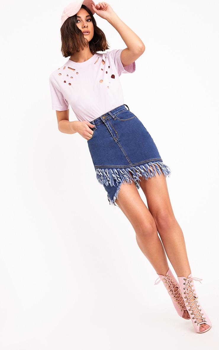 Mid Wash Fringe Hem Denim Mini Skirt 6