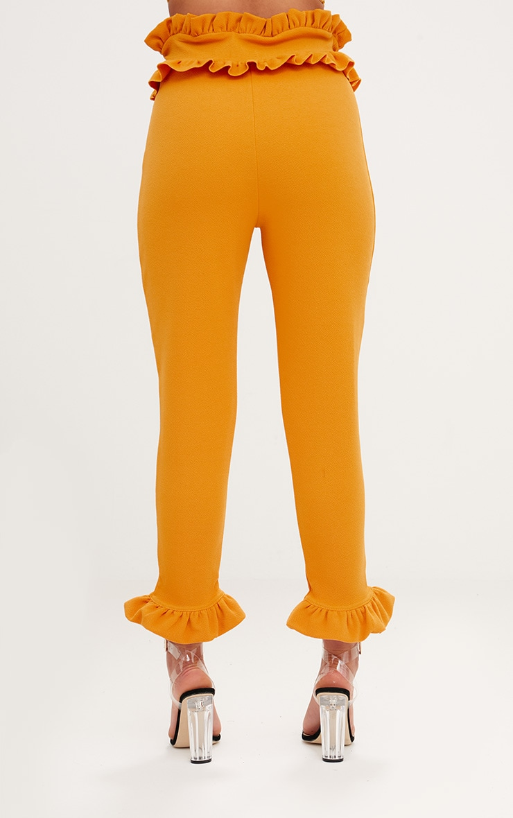 Mustard Frill Trim Trousers 4