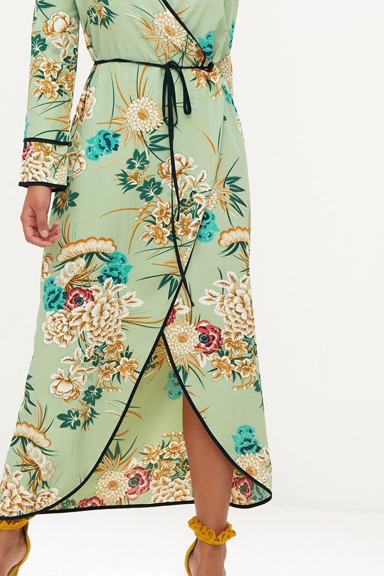 Sage Green Floral Wrap Ankle Grazer Maxi Dress 5