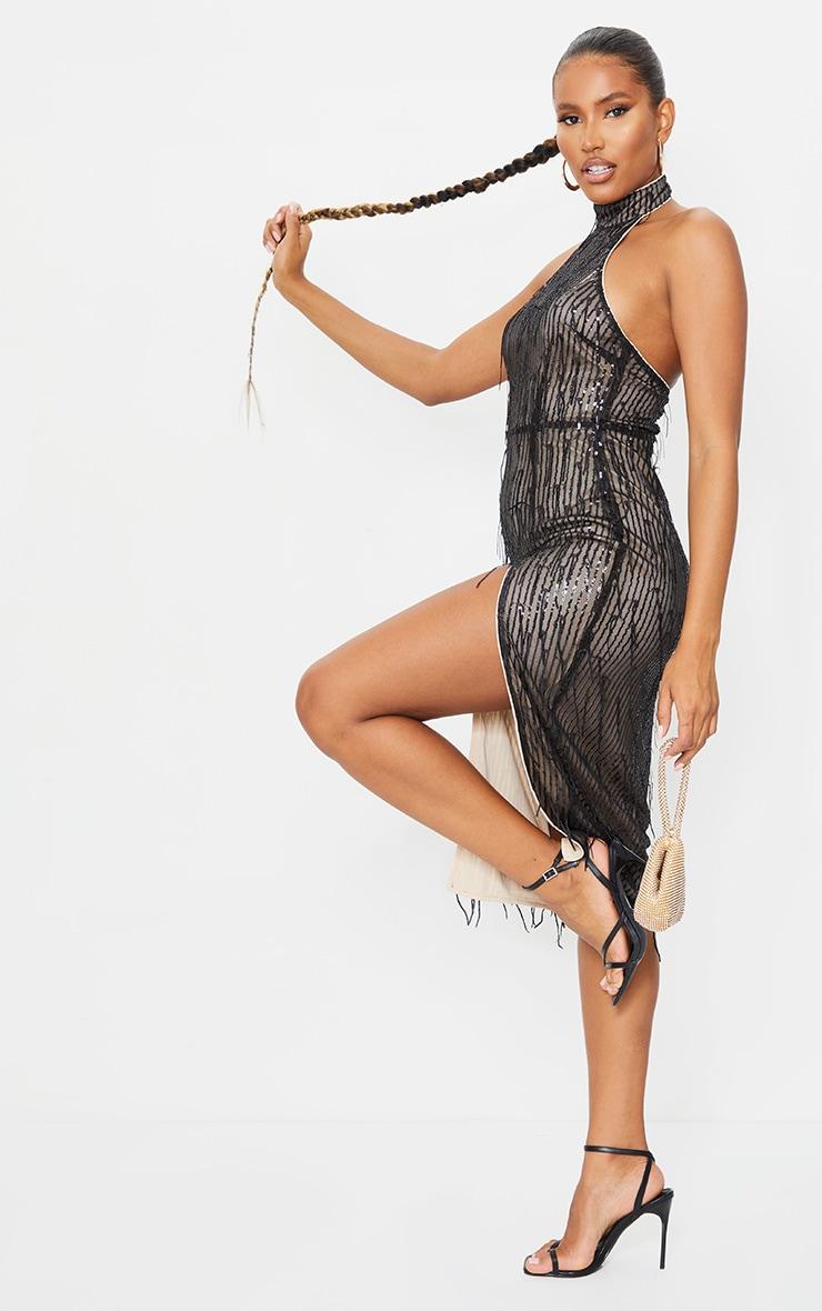 Black Premium Tassel Sequin High Neck Split Leg Midi Dress 3