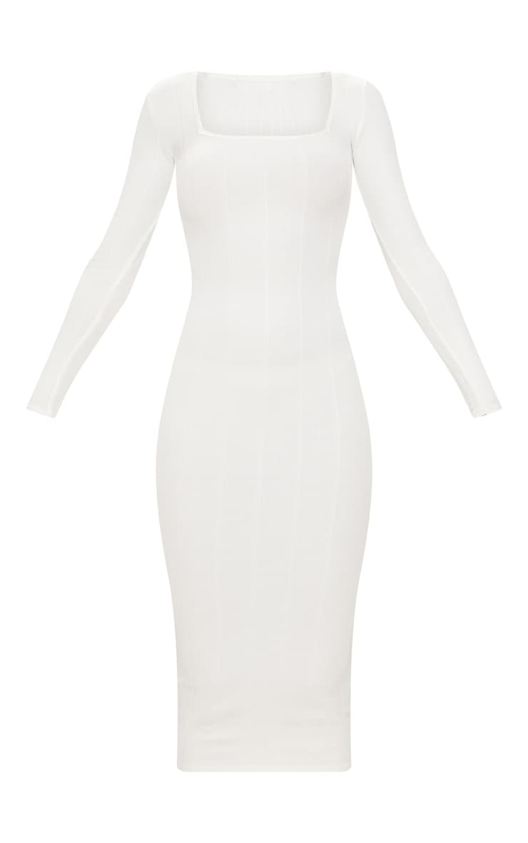 White Bandage Long Sleeve Square Neck Midaxi Dress 3