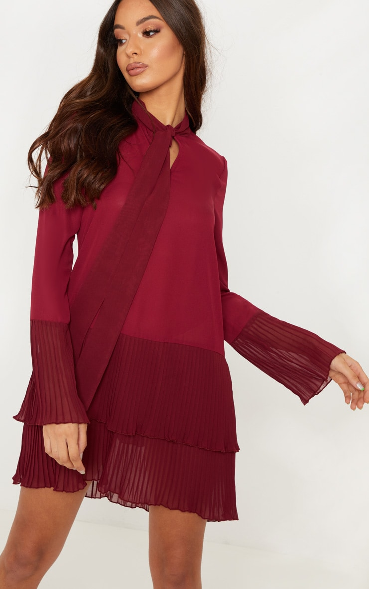 Burgundy Neck Tie Double Frill Pleated Layer Hem Shift Dress 1