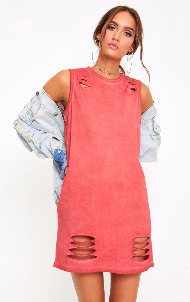 Red Acid Wash Sleeveless T Shirt Dress 1