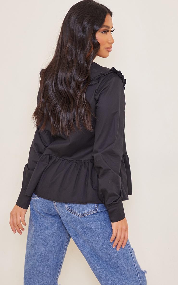 Petite Black Oversized Collar Shirt 2