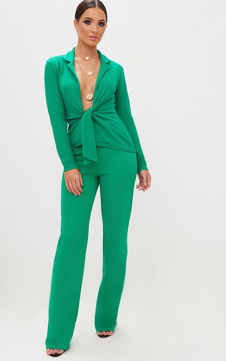 Emerald Green Tie Front Blazer 4
