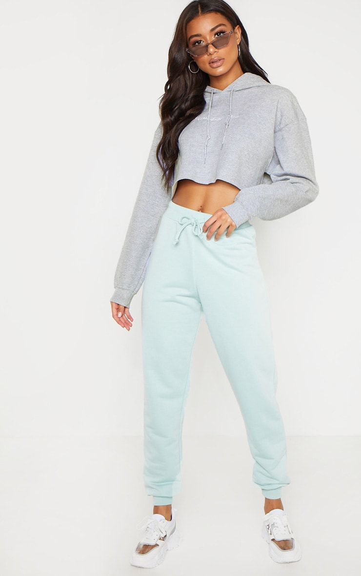 PRETTYLITTLETHING Grey Marl Embroidered Crop Hoodie 4