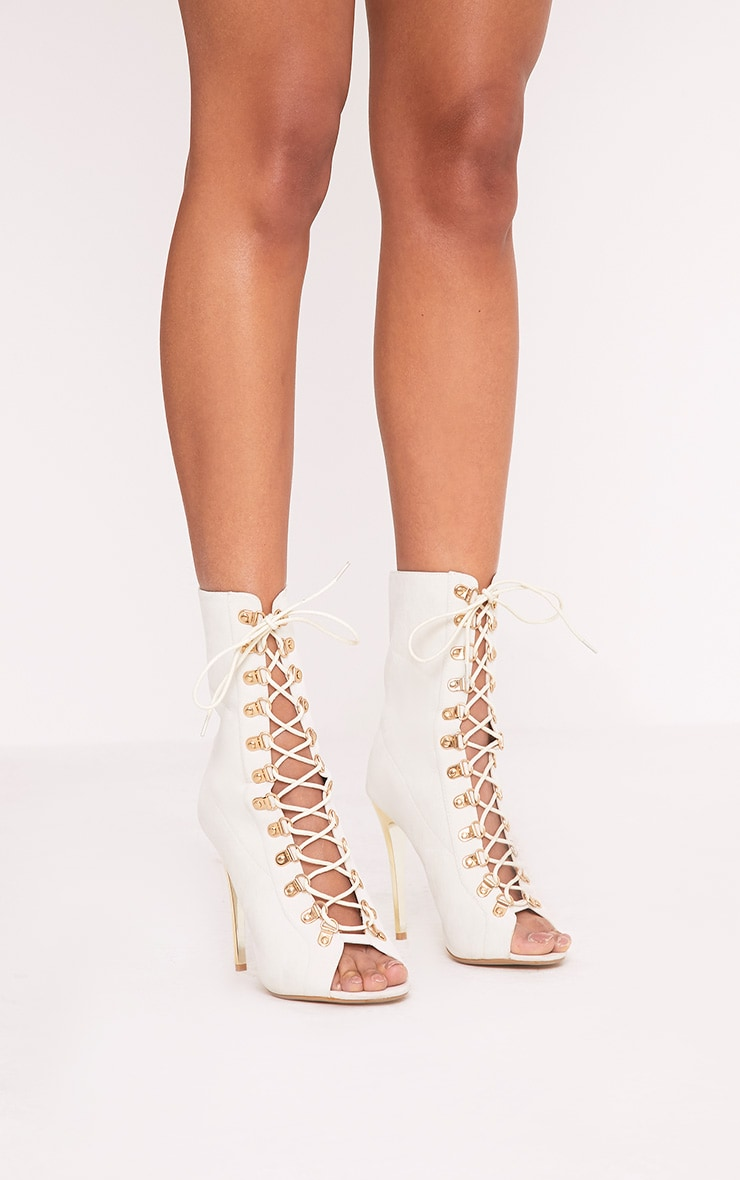 Elina Cream Lace Up Ankle Boots 3