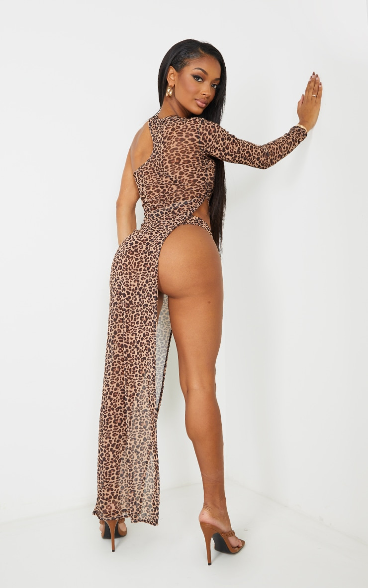 Shape Brown Leopard Print Mesh Cut Out Split Maxi Dress 2