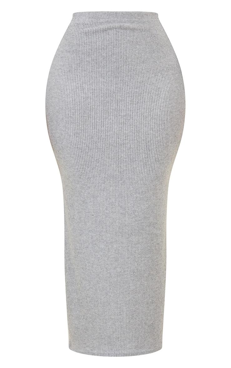 Shape Grey Brushed Rib Midaxi Skirt 5