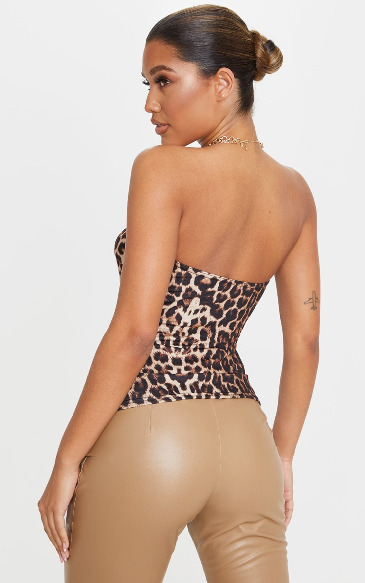 Tan Leopard Printed Cup Bandeau Top 2