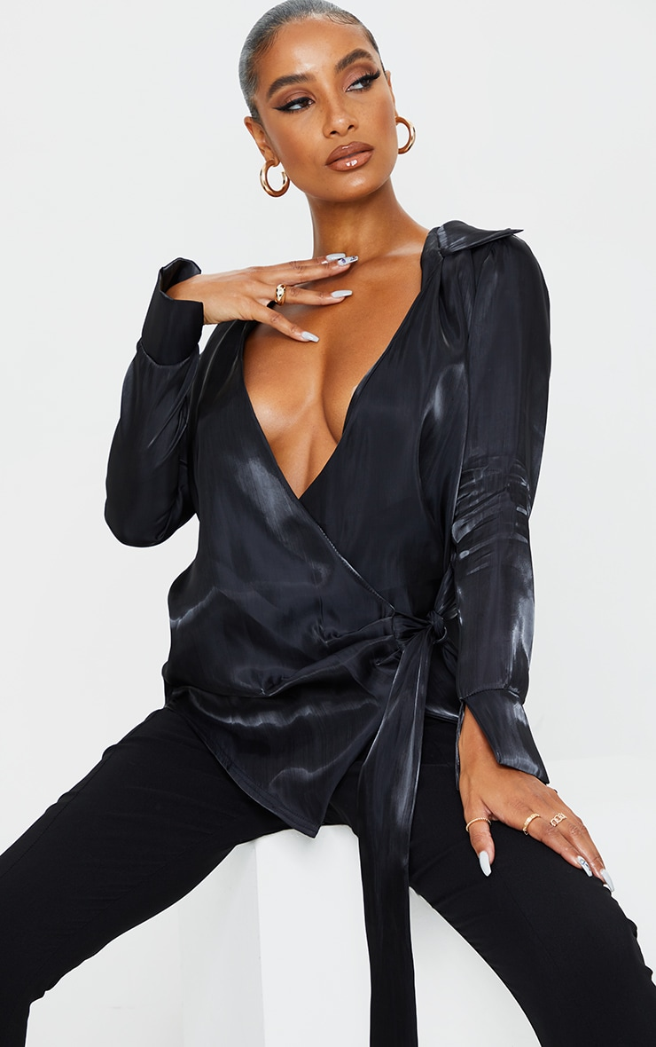 Black Satin Metallic Tie Front Shirt 1