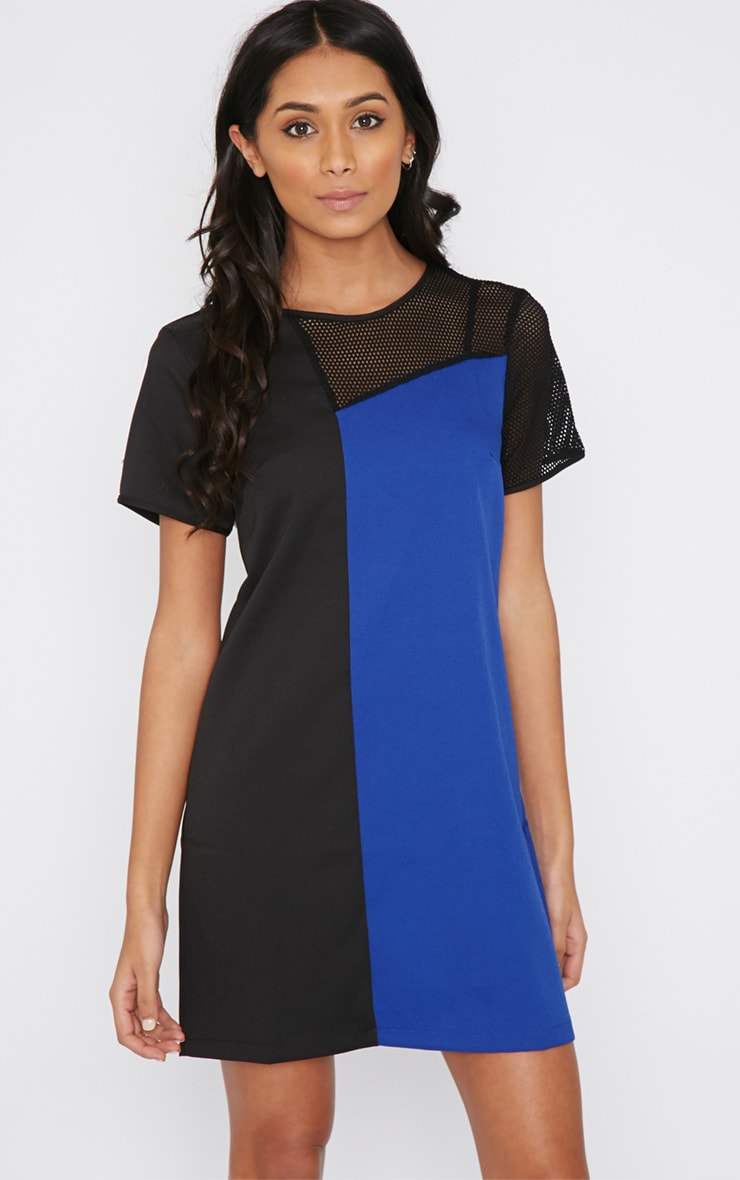 Jolanda Cobalt Airtex Panel Shift Dress 4