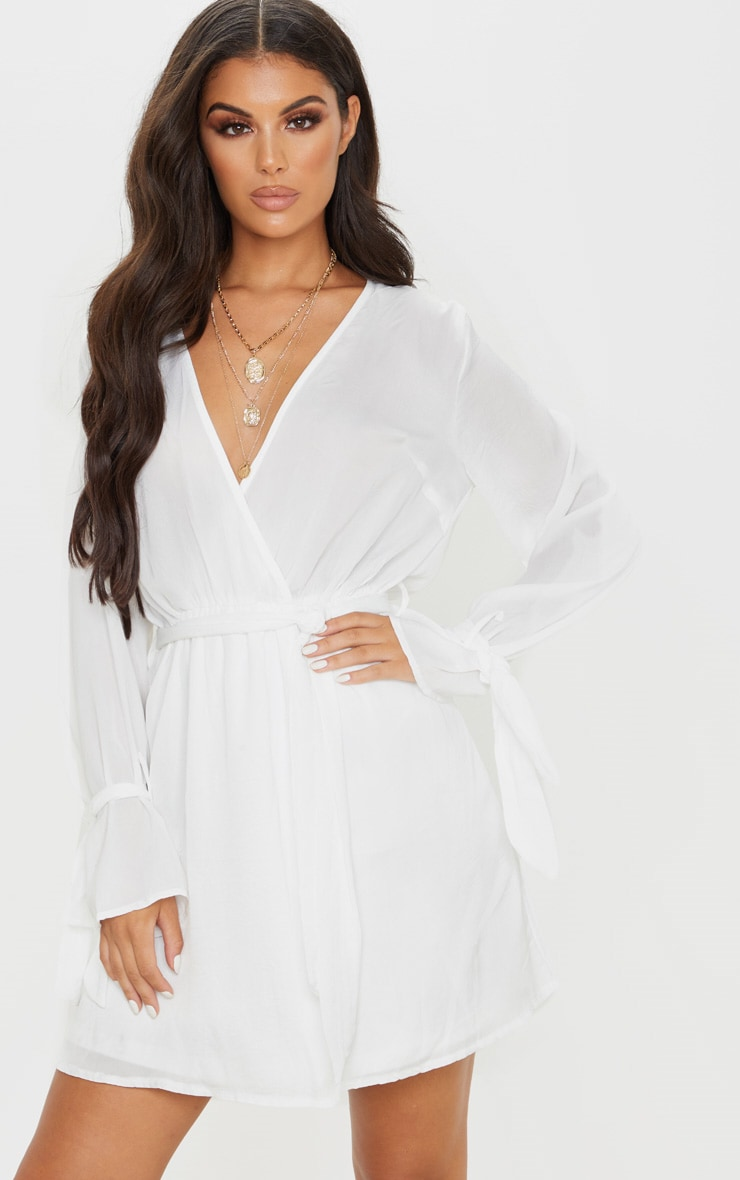 White Satin Wrap Cuff Detail Shift Dress 1