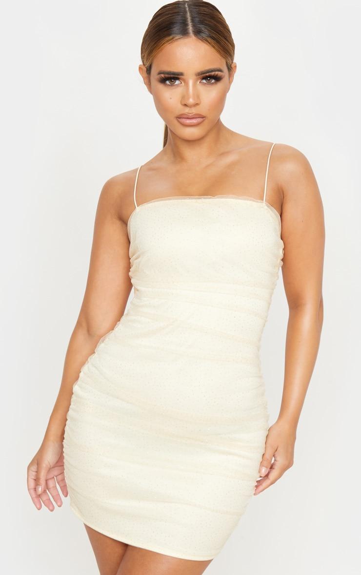 Petite Nude Glitter Polka Dot Mesh Strappy Mini Dress  1