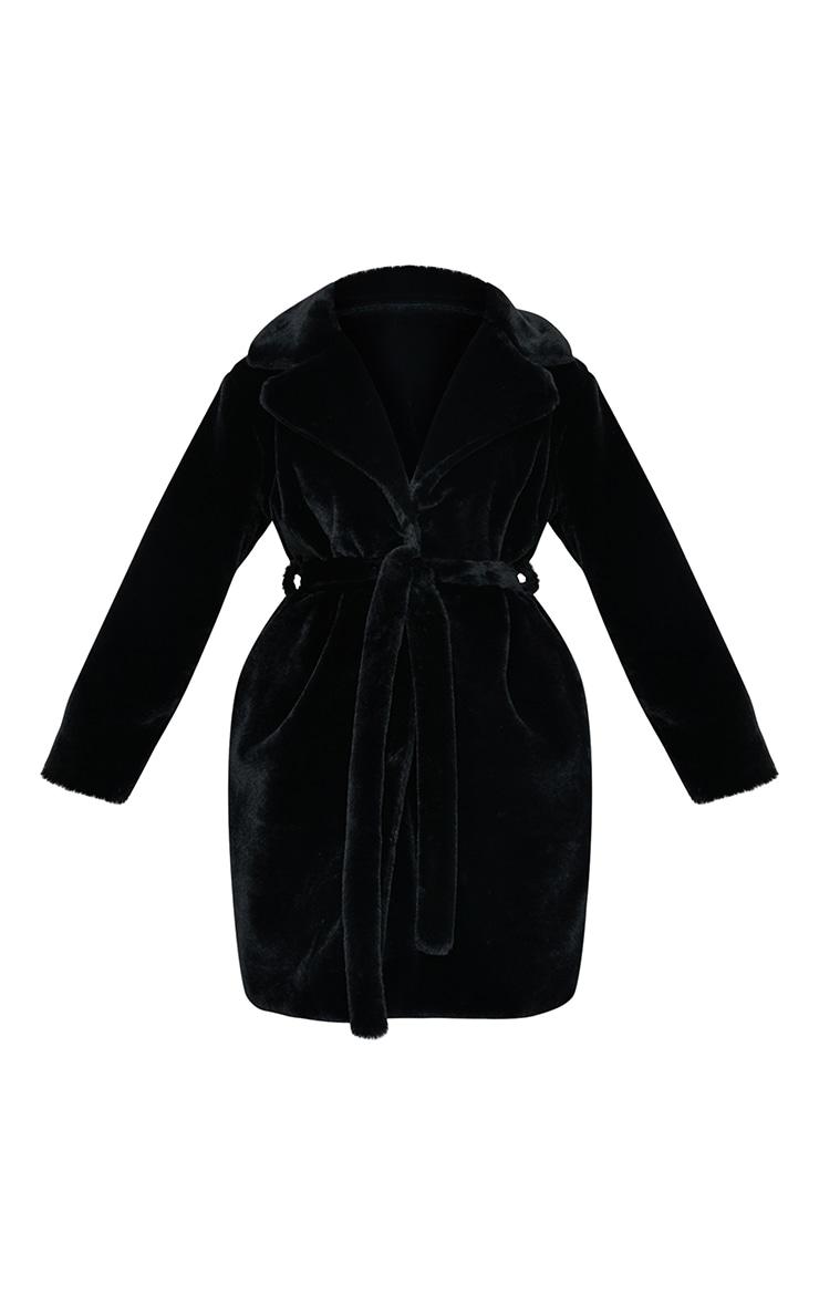 Black Soft Faux Fur Belted Midi Coat 5