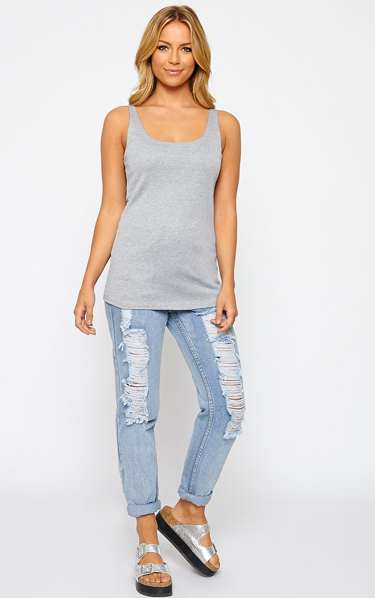 Basic Grey Ribbed Vest Top 3