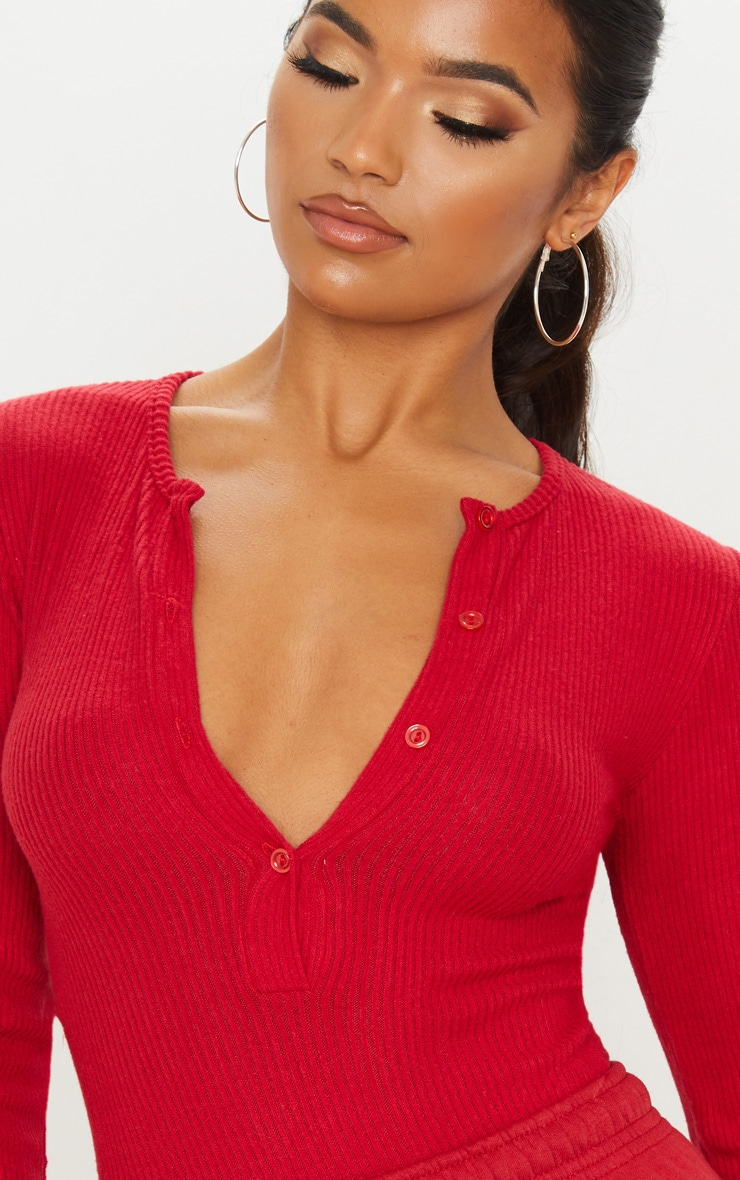 Scarlet Brushed Rib Button Long Sleeve Bodysuit 6