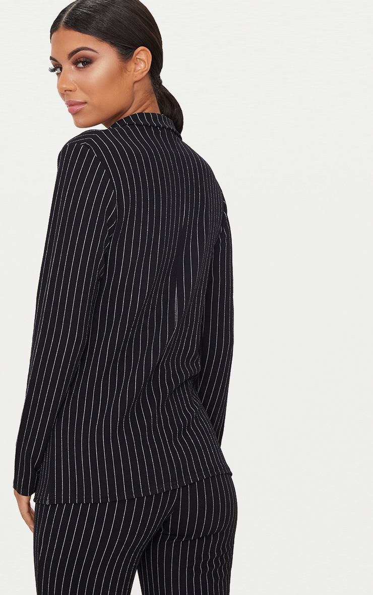 Black Pinstripe Double Breasted Blazer 2