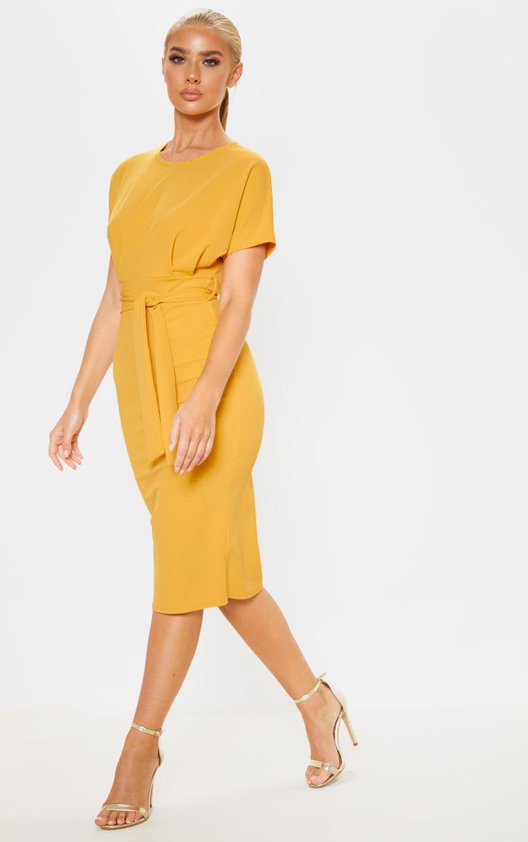 Mustard Short Sleeve Tie Waist Midi Dress 4