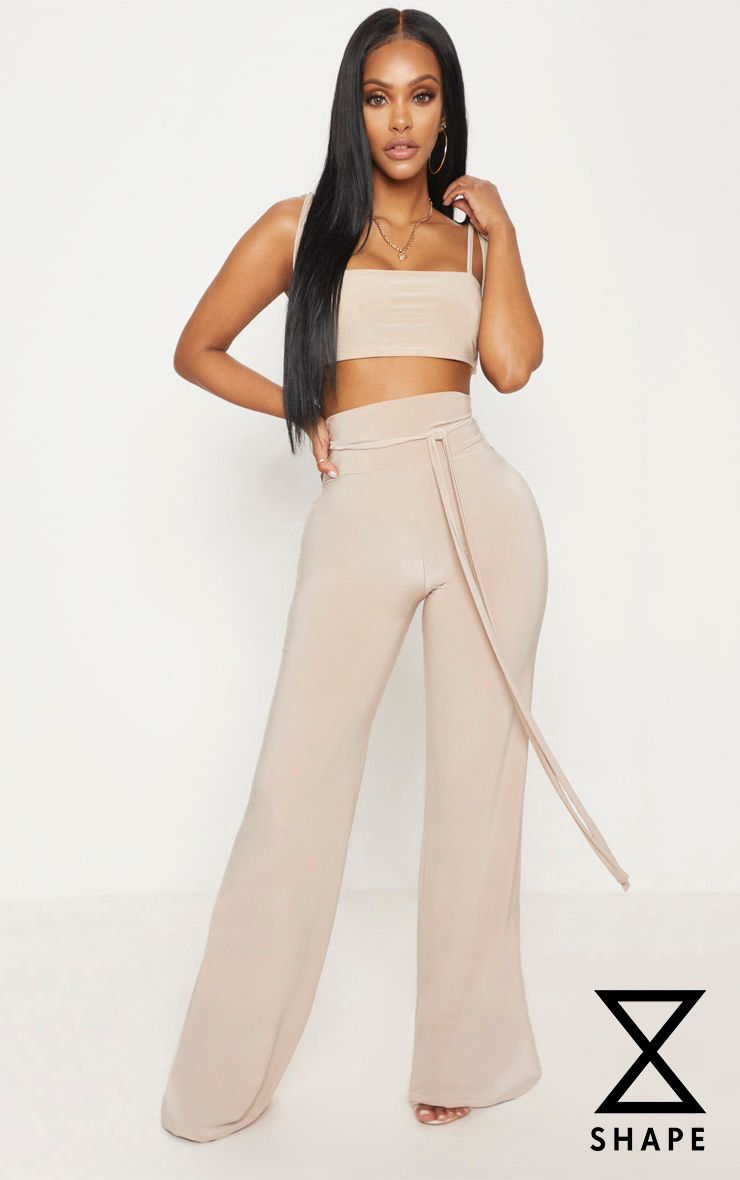 Shape Stone Slinky Extreme High Waist Detail Wide Leg Trousers 1